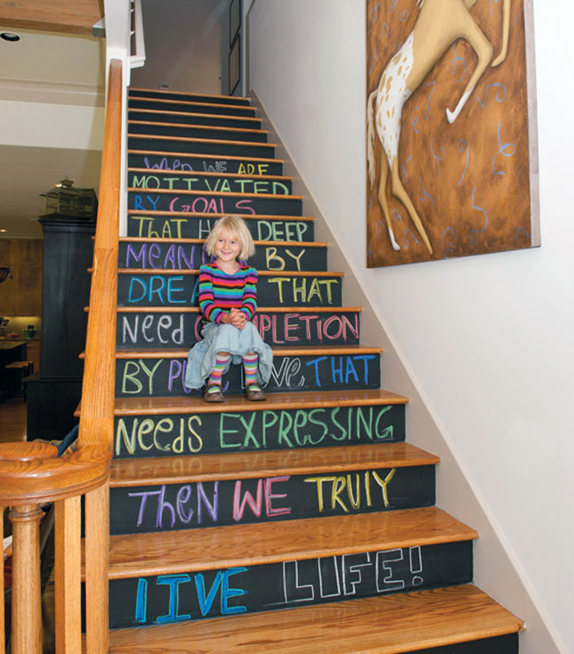 Chalkboard stairs decals