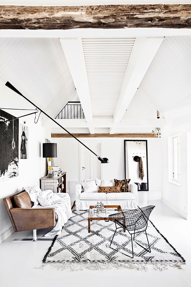 black and white graphic wallpaper interior