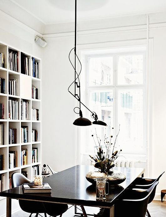 black white dining space