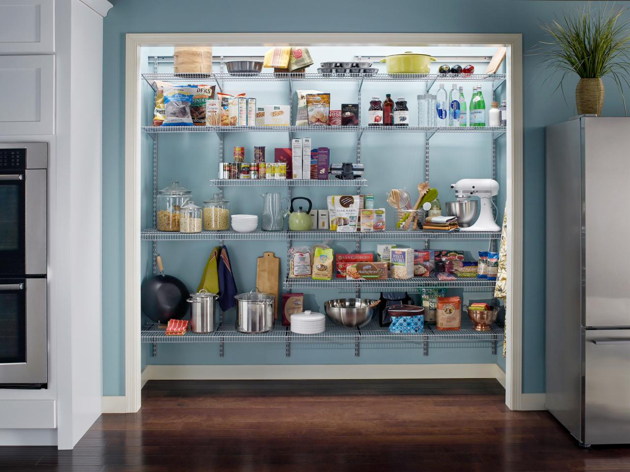 Adjustable wire shelving is an inexpensive product for customizing your pantry space.