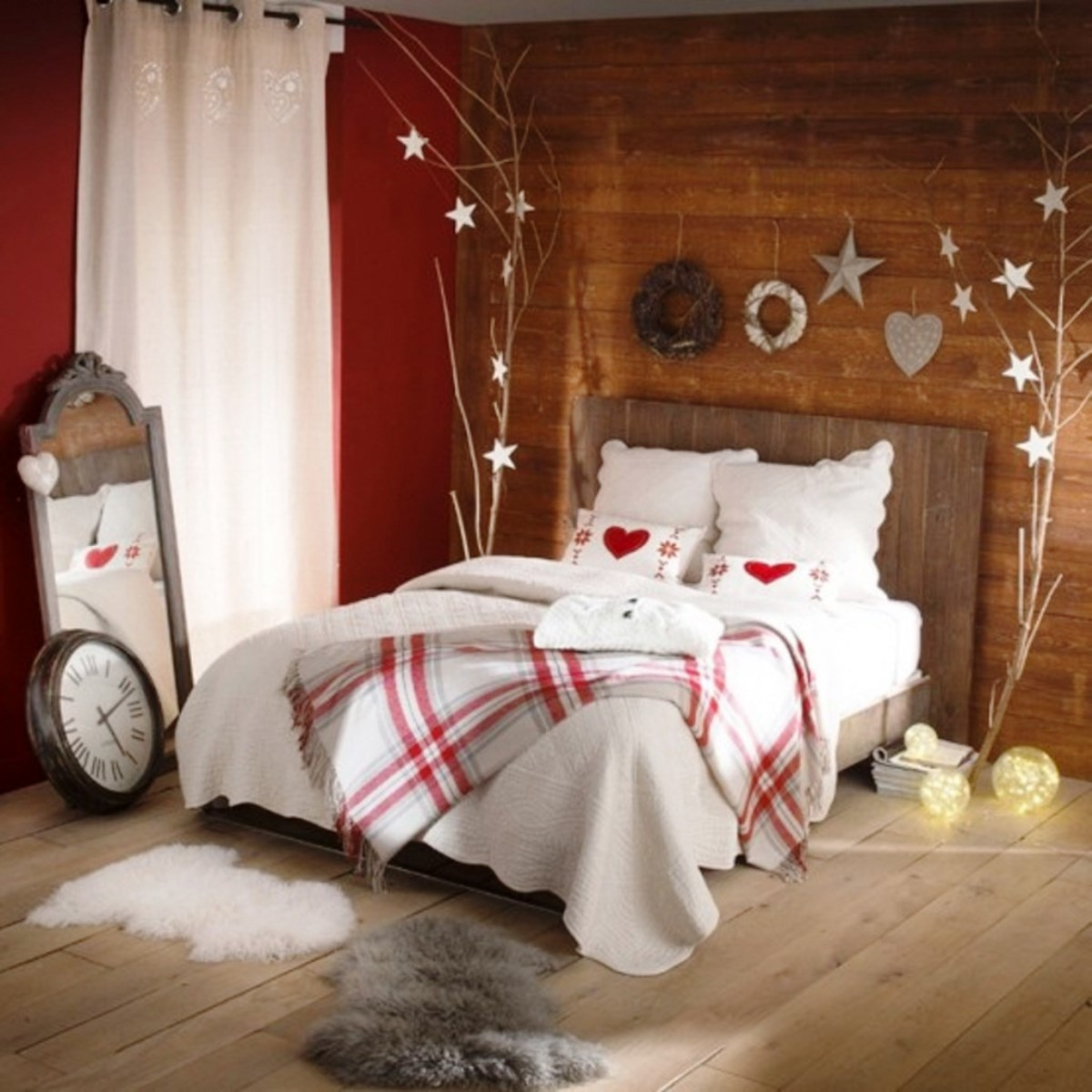 30 christmas bedroom decorations ideas for Bed room decoration ideas