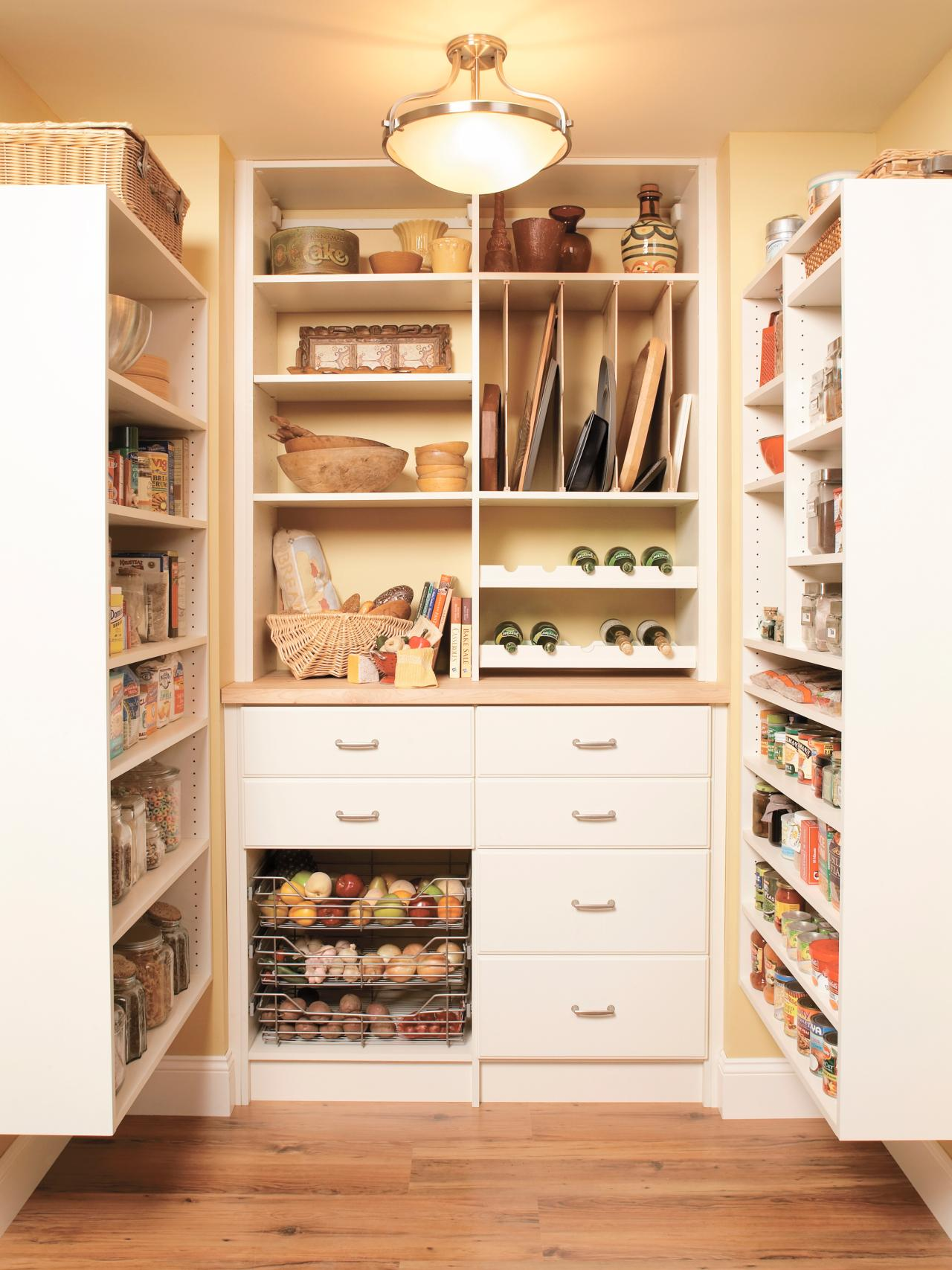 Optimize your larger pantry with a custom storage system.