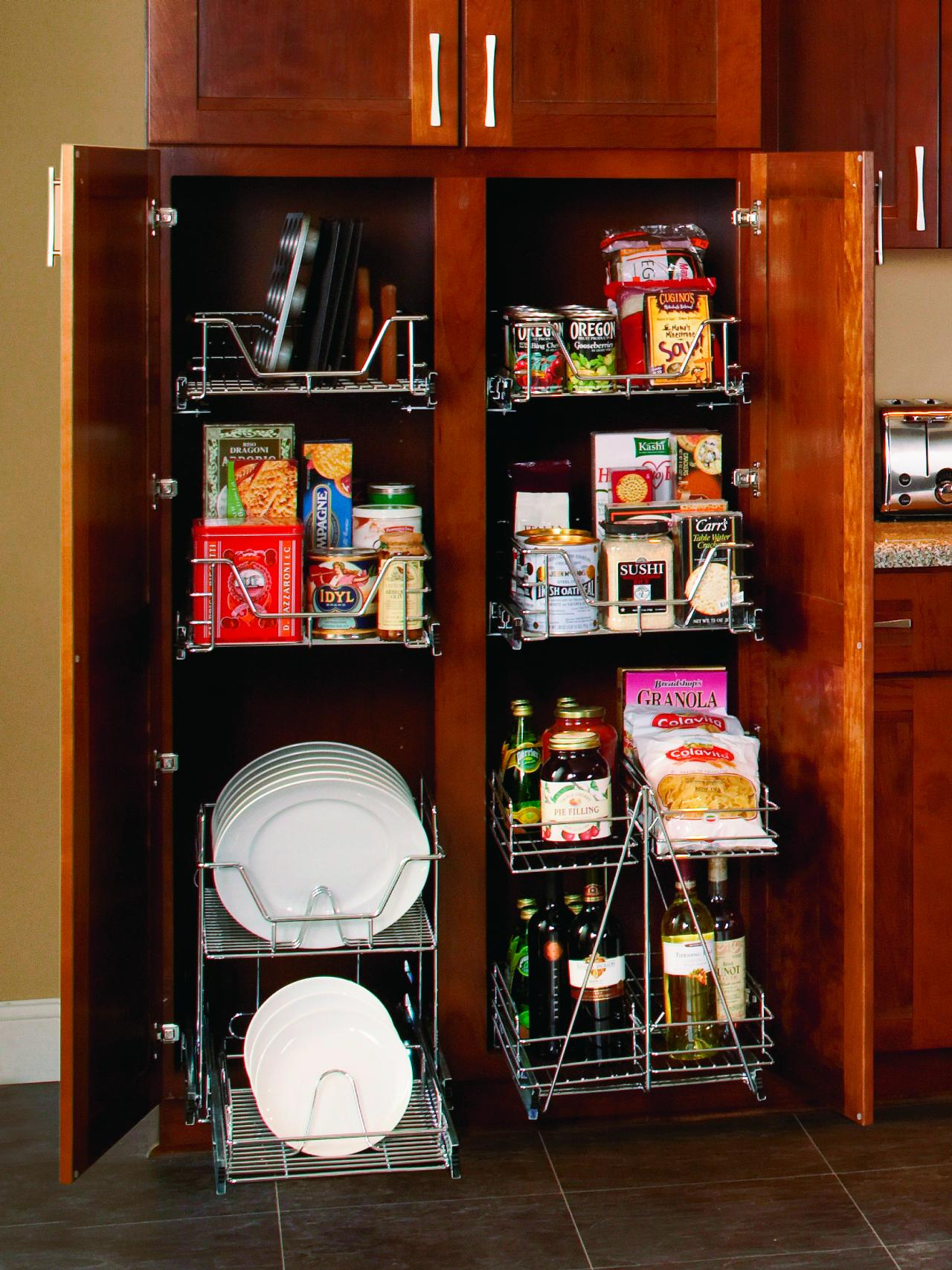 Pullout wire organizers grant easy access to food and dishes.