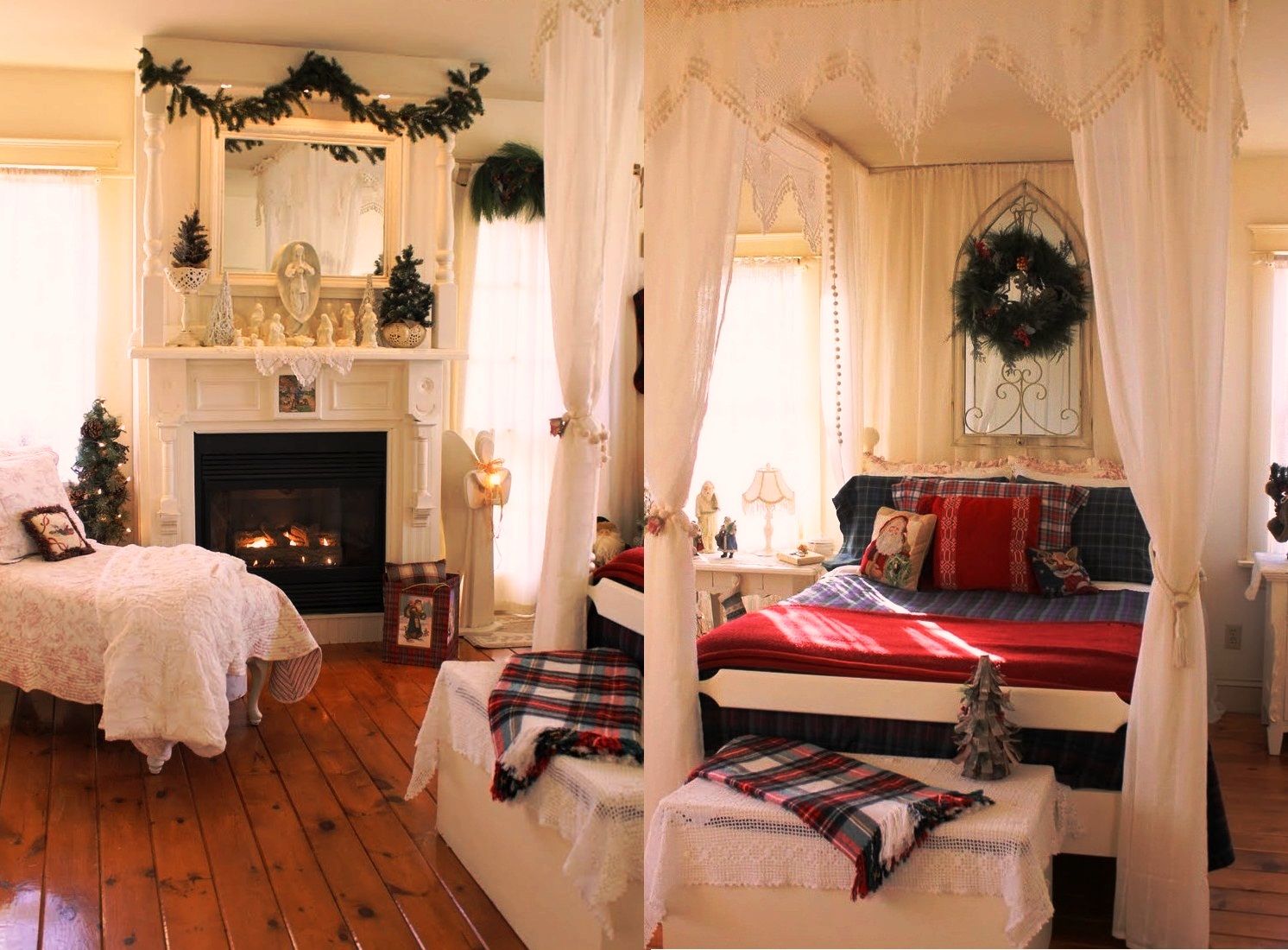 30 christmas bedroom decorations ideas for Beautiful house decoration