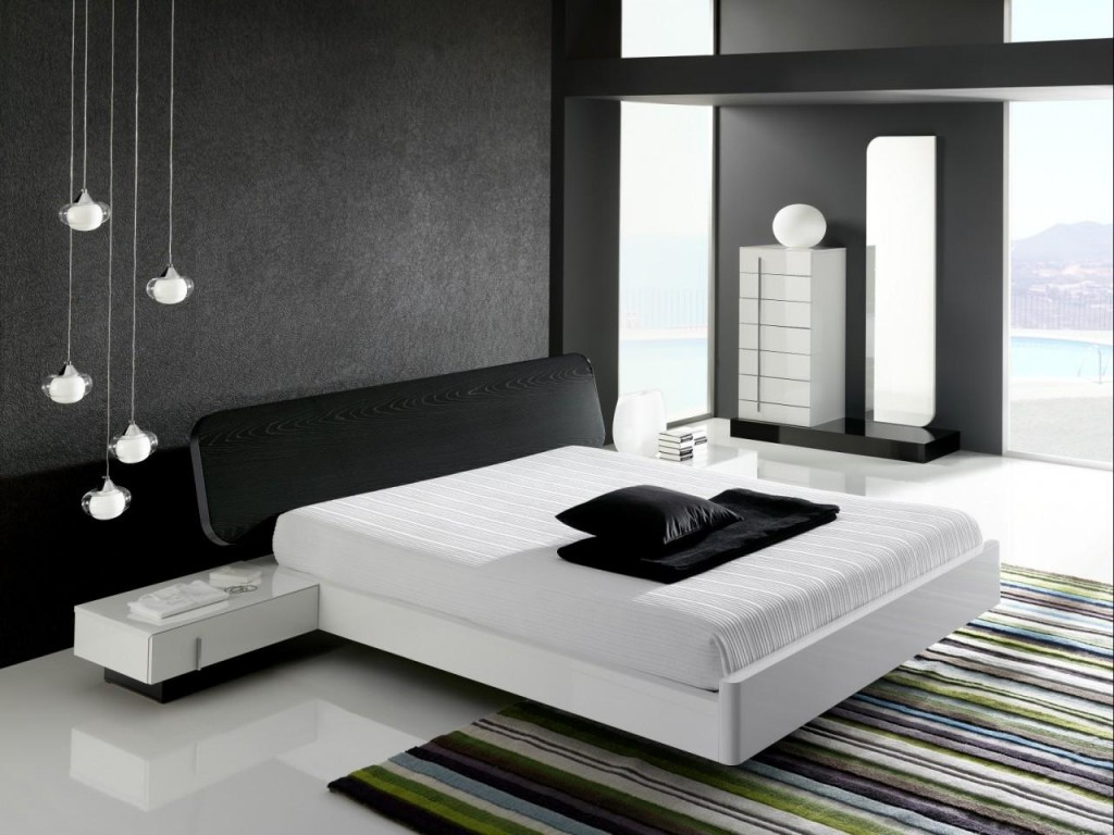 Black and white bedroom interior design ideas for Bed interior design picture