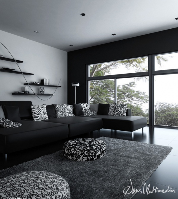 Black and white interior design ideas pictures for Black grey interior design