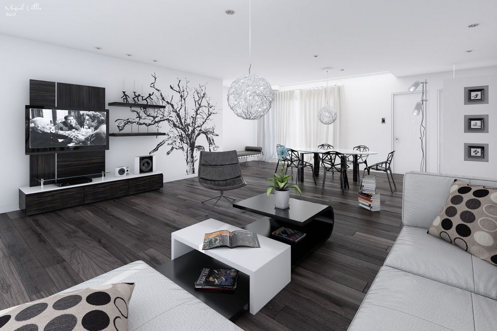 Black and white living dining room