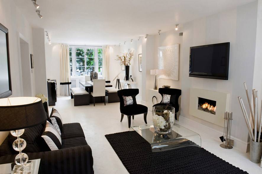 Black and white living room interior design ideas White living room ideas