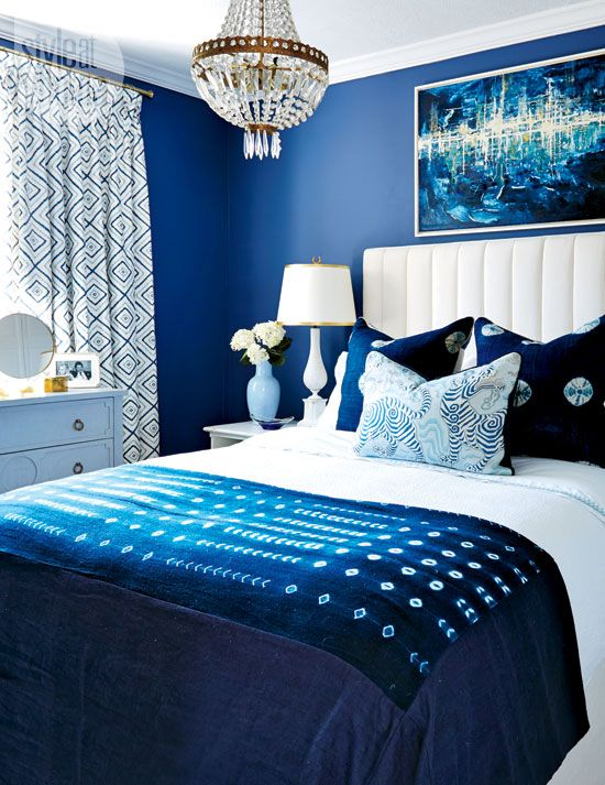 Dark blue master bedroom