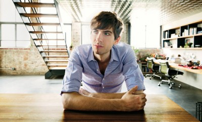 David Karp at the kitchen island of his Williamsburg, Brooklyn