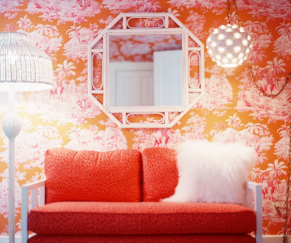 Pink and orange living room design ideas pictures for Pink living room wallpaper