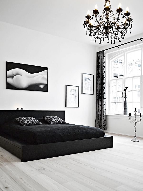 black white interior design bedroom