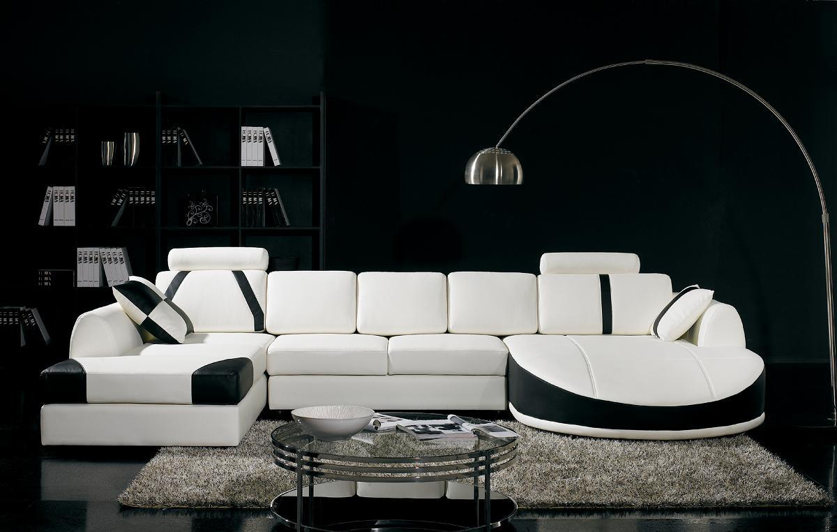 Black White Sectional Sofa Set Living Room