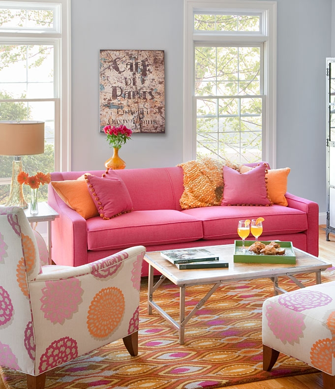 Pink and orange living room design ideas pictures for Room design ideas pink