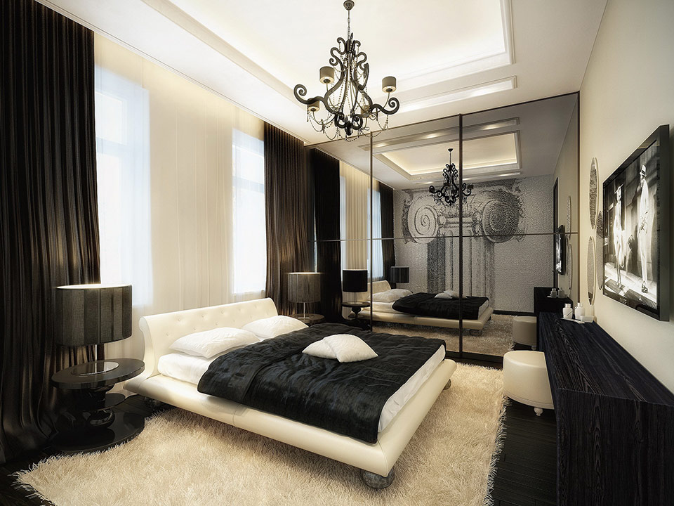 Luxurious Black And White Bedroom