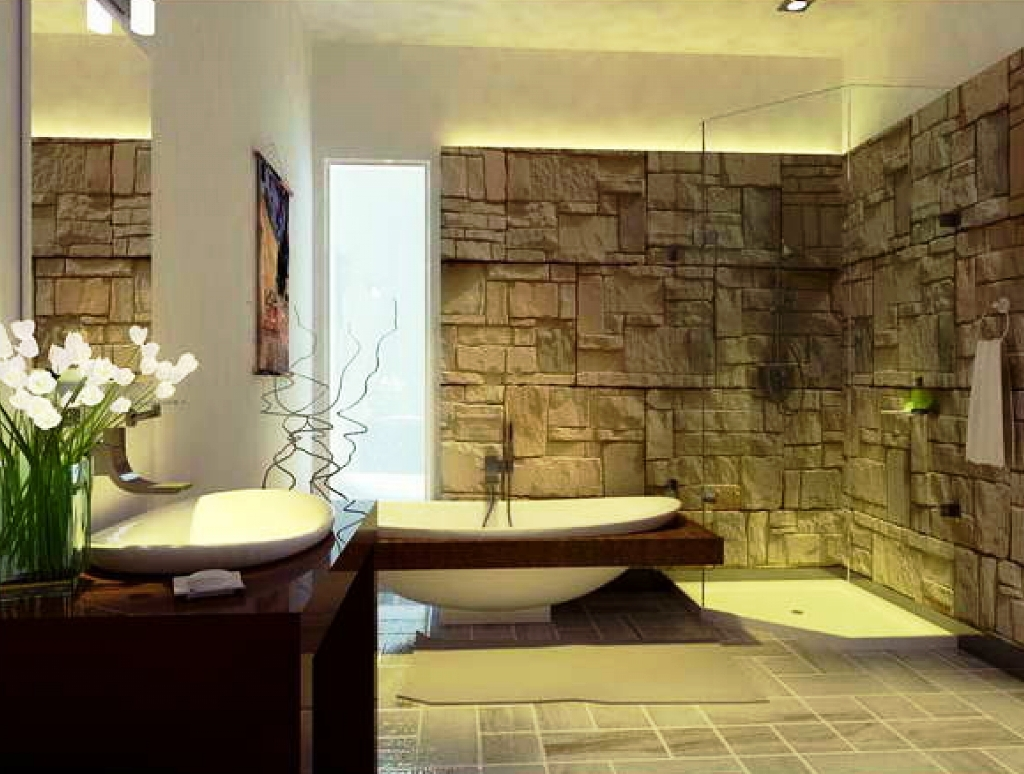 23 natural bathroom decorating pictures for Bathroom wall decor ideas