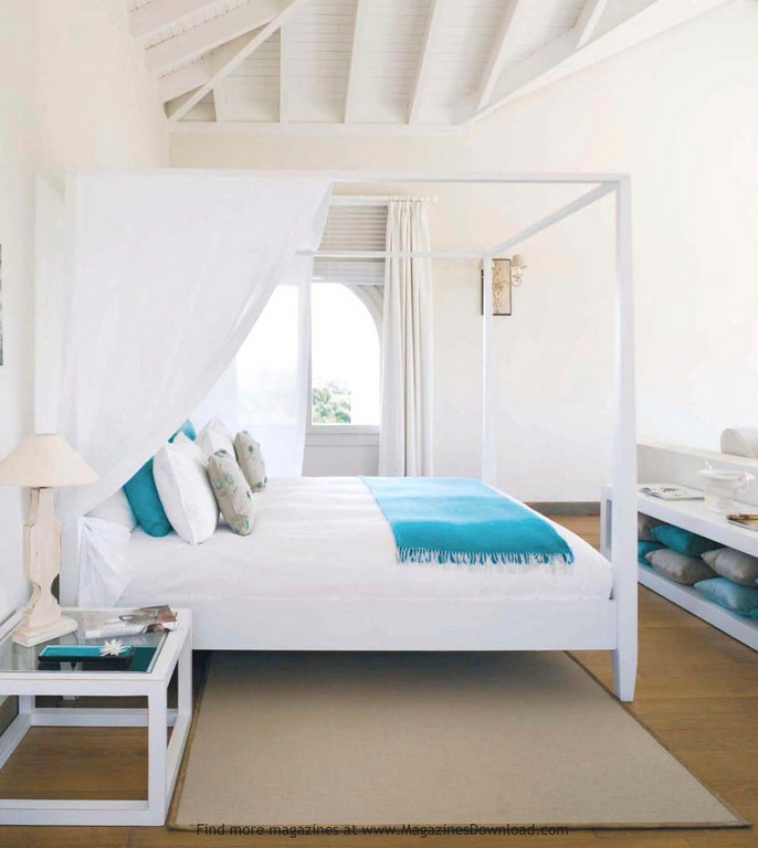 white turquoise bedroom canopy bed beach house bedroom - Beach House Interior Design Ideas