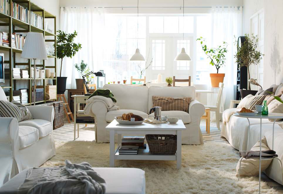 Awesome White Sofa And Wood Shelf Also White Table