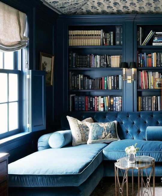 Study Room Color Ideas: 15 Beautiful Dark Blue Wall Design Ideas