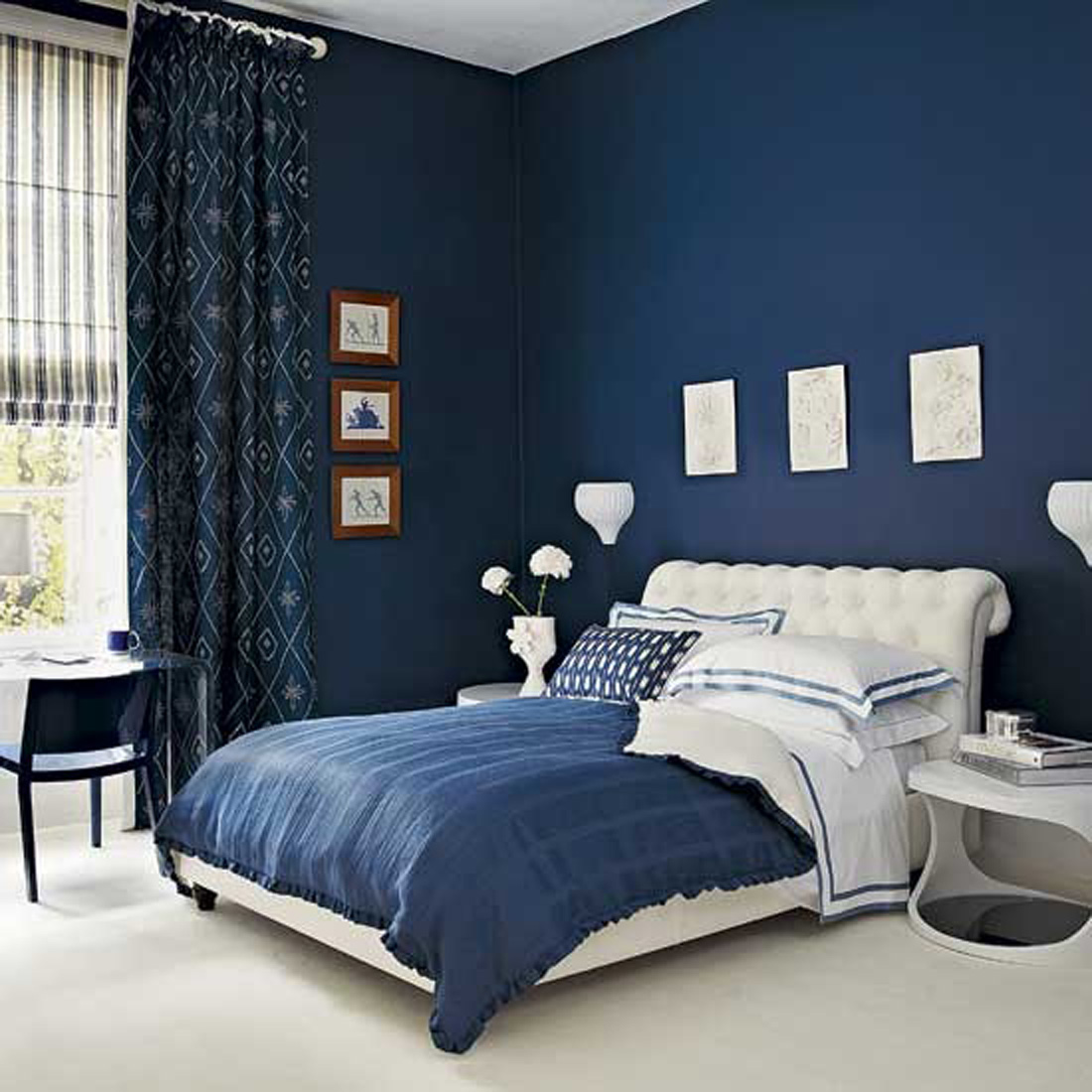 Bedroom design ideas for women blue - Blue Wall Paint For Modern Bedroom