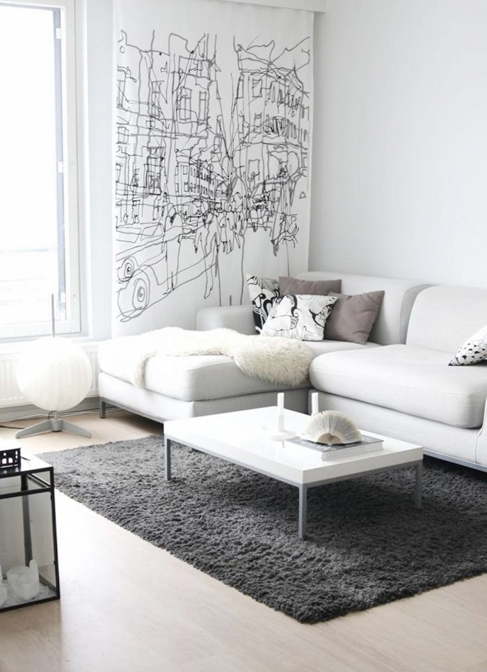 White sofa design ideas pictures for living room for Grey and white living room furniture