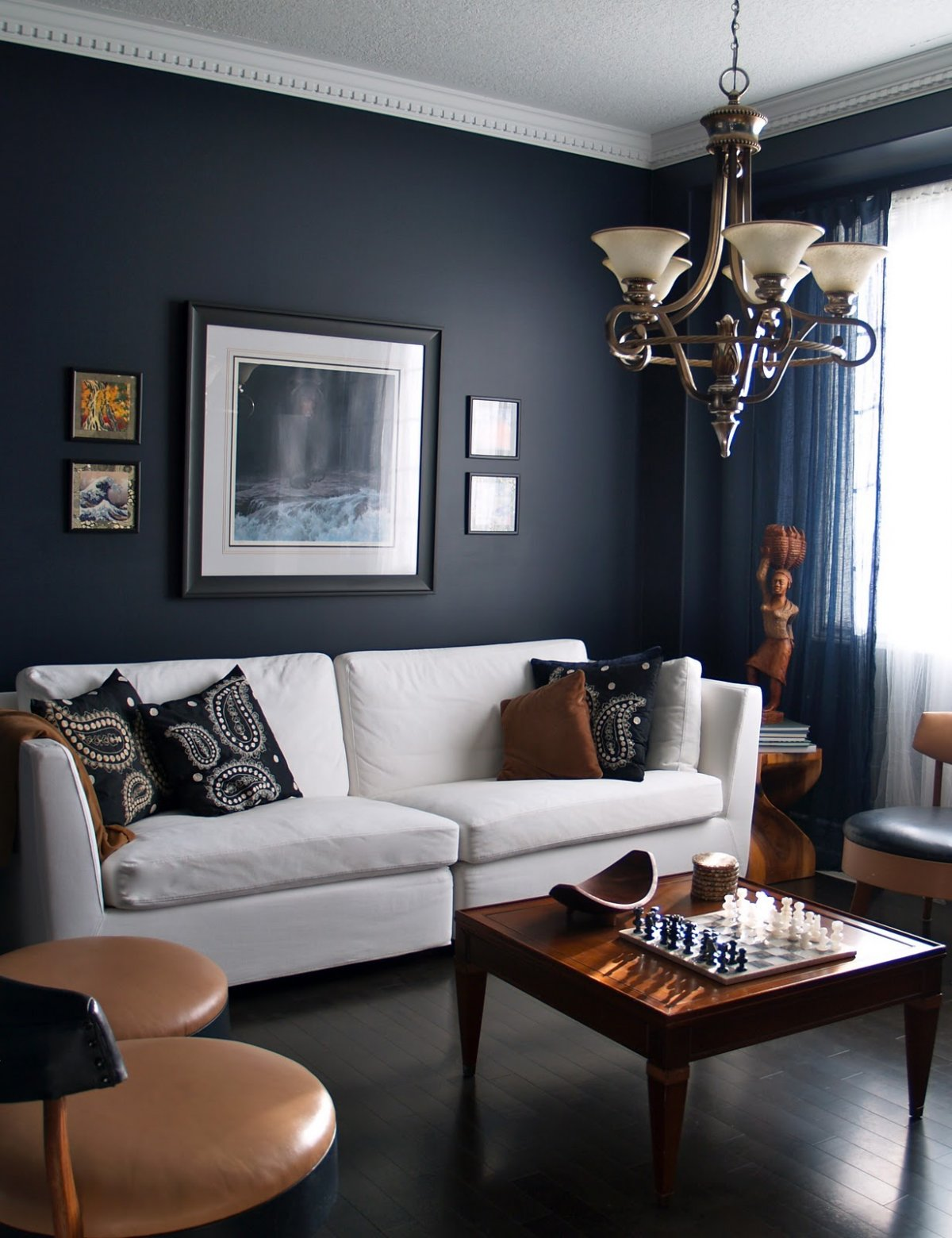 Design Of Furniture For Living Room: 15 Beautiful Dark Blue Wall Design Ideas