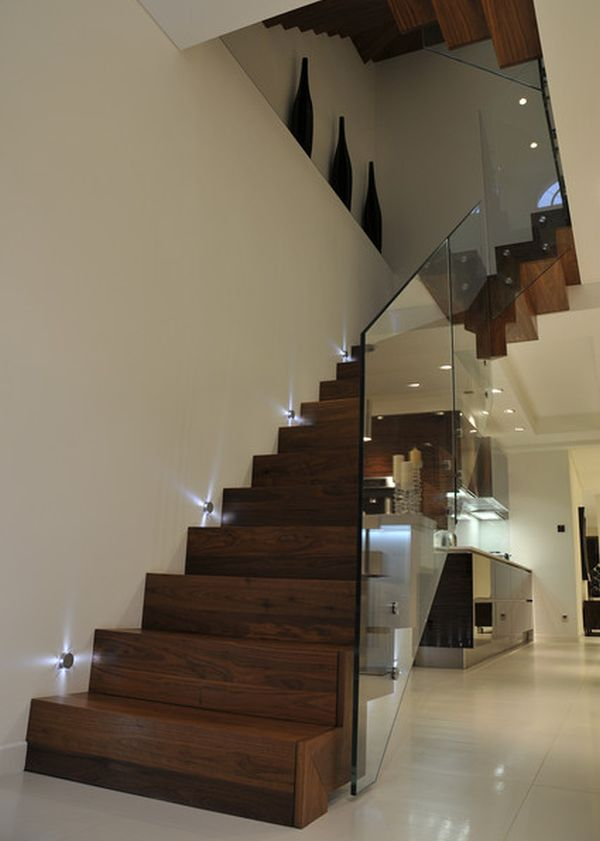 modern staircase beautiful lights