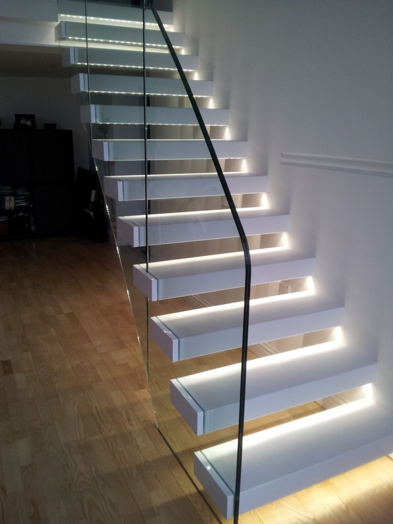 21 staircase lighting design ideas pictures wall mount white color stair lighting mozeypictures Image collections