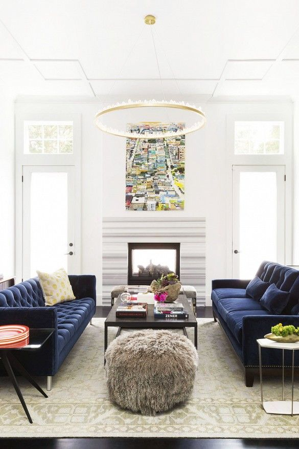 Merveilleux Ann Lowengart Interiors Modern Living Room In Norcal Blue Velvet Sofas And  Quartz Lined Chandelier