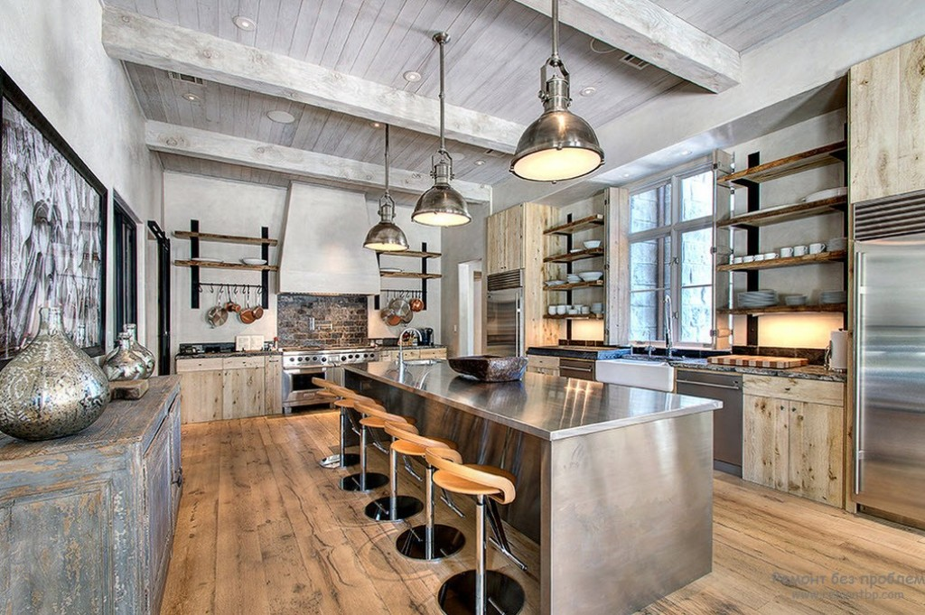 Industrial Kitchen With Vaulted Ceiling