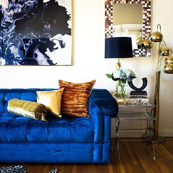 blue velvet fabric home decor
