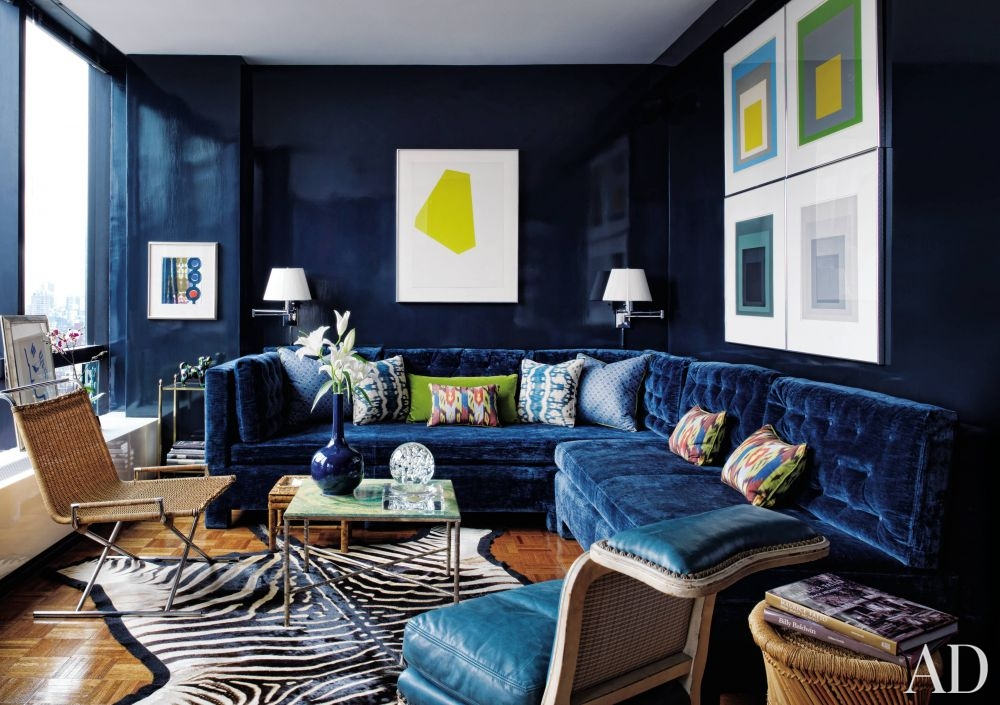 Contemporary Living Room With Blue Sofa Todd Alexander Romano New York