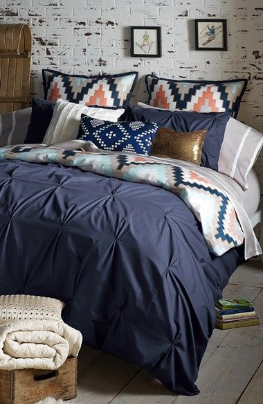 Absolutely loving colorful blue bedroom and all of this gorgeous texture
