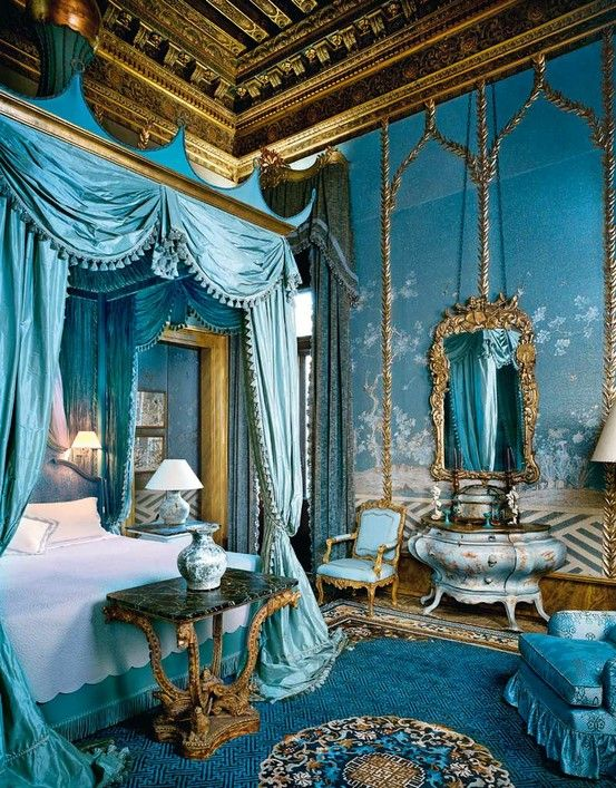 Beautiful Bedroom Interior Blue Color