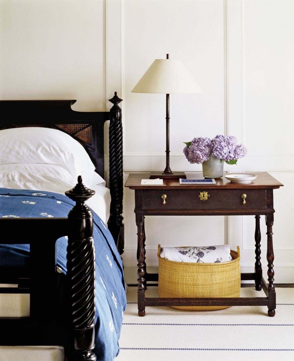 In an understated Nantucket master bedroom