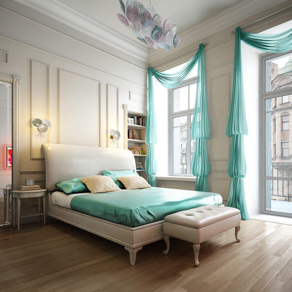 fashionable bedroom with green curtains bed cover, wooden floor, white lounge bench