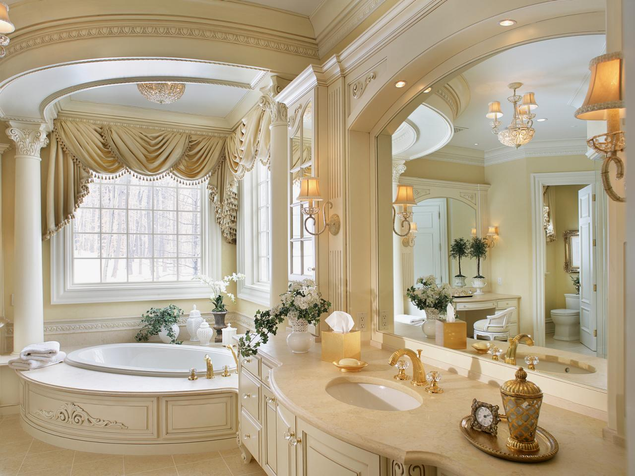 Master Bathroom With Romantic Style