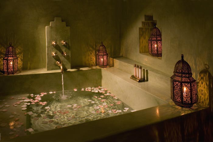 romantic bath with soft light