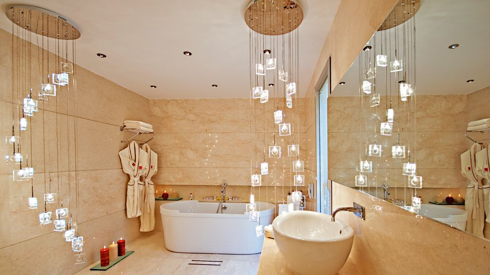 21 ideas to decorate lamps chandelier in bathroom mozeypictures Images