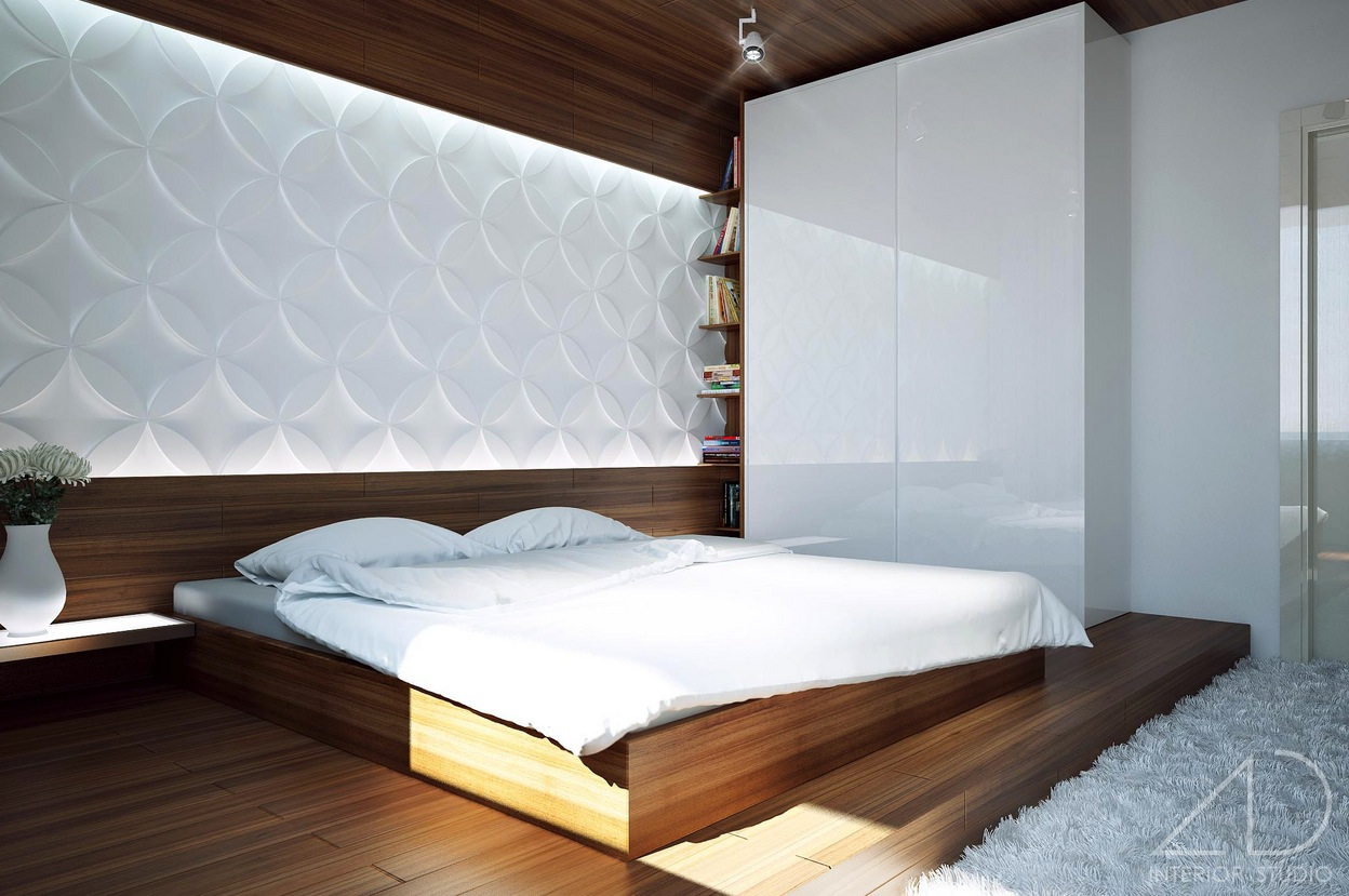 white bedroom modern design wooden flooring - Bed Design Ideas