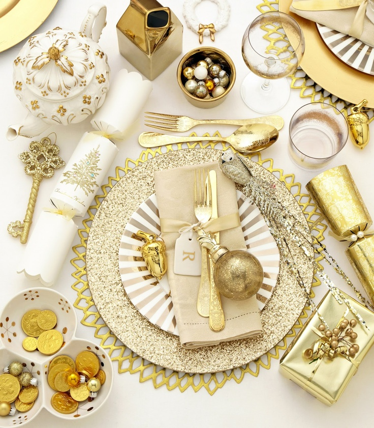 Christmas table set with gold accessories