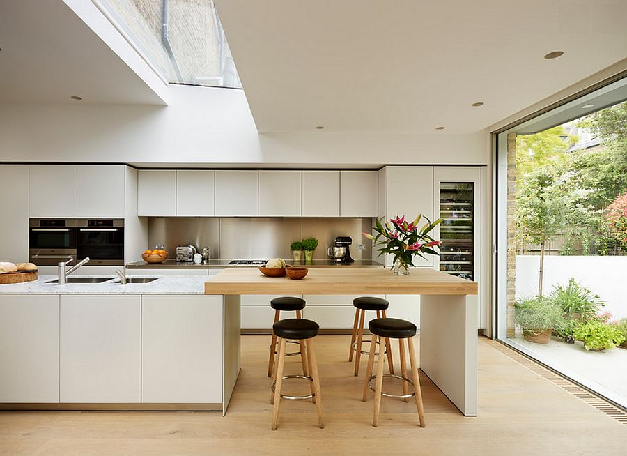 elegant white scandinavian style kitchen with skylight - Scandinavian Kitchen Design