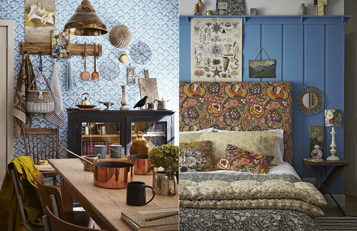 Blue bohemian interior design with vintage style for Home interior decorating