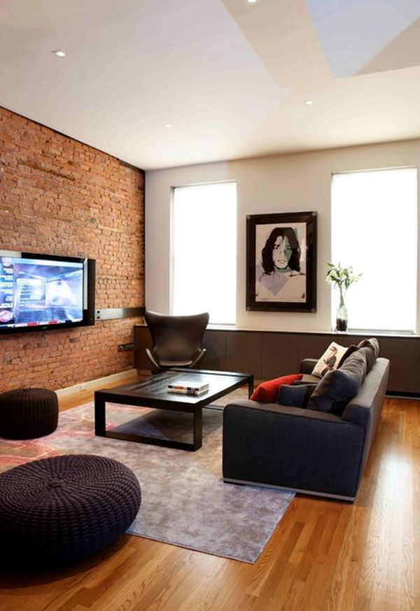 brick wall living room tv mounted