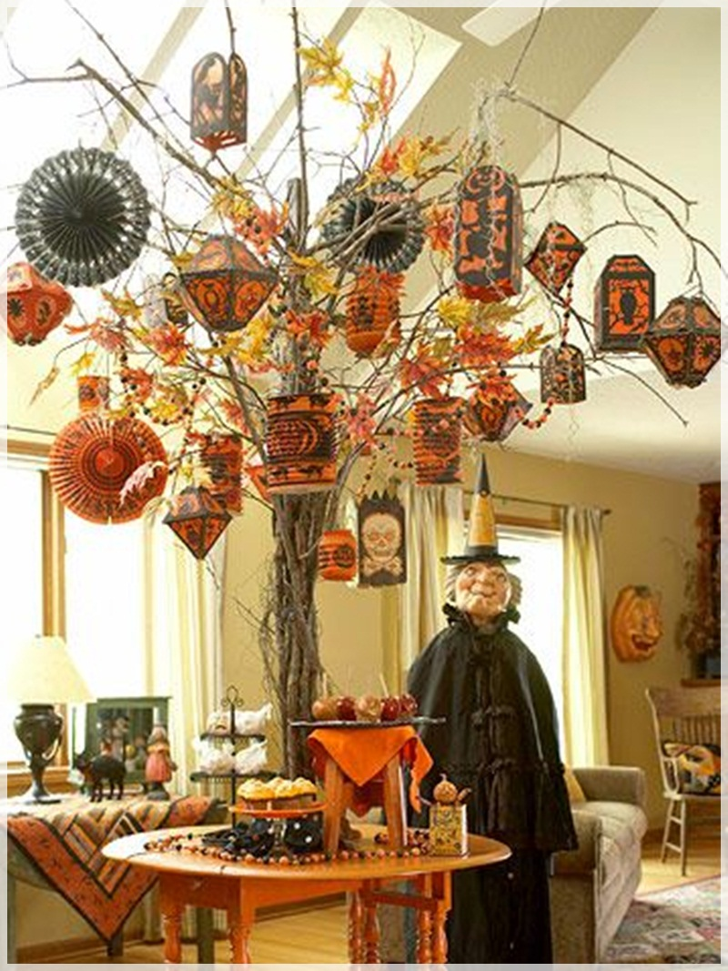Halloween tree ornaments - Rustic Halloween Decoration Furniture Ideas For Living Room Orange And Black Hang