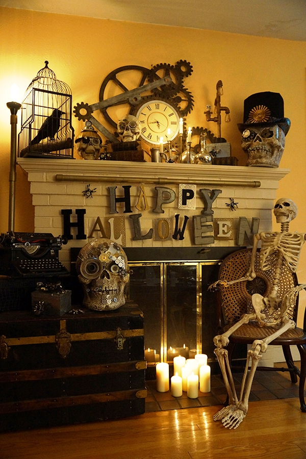 Skeleton near Living room Fireplace Halloween Decor