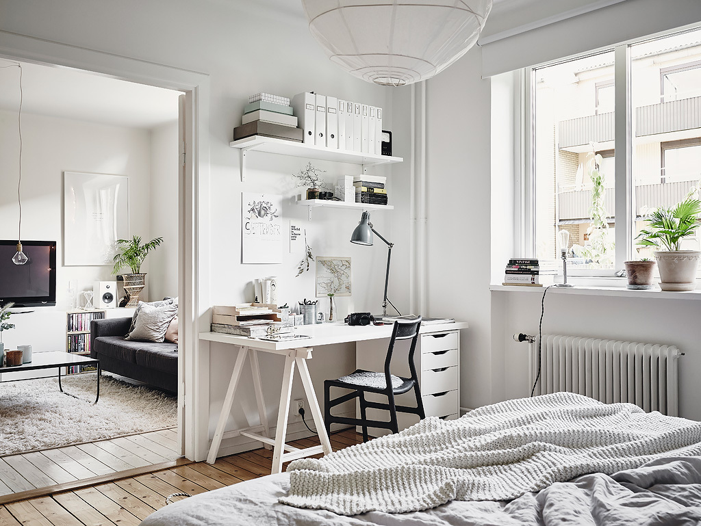 Small Space Office in Scandinavian Bedroom Apartment