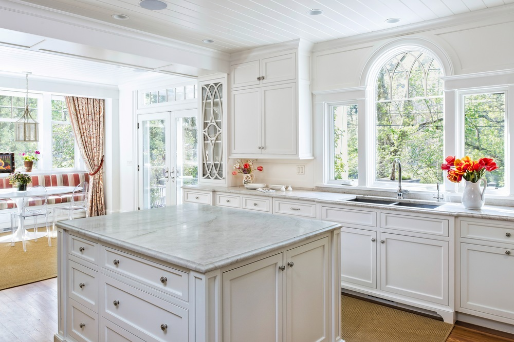 Square Marble Kitchen Island With Drawers