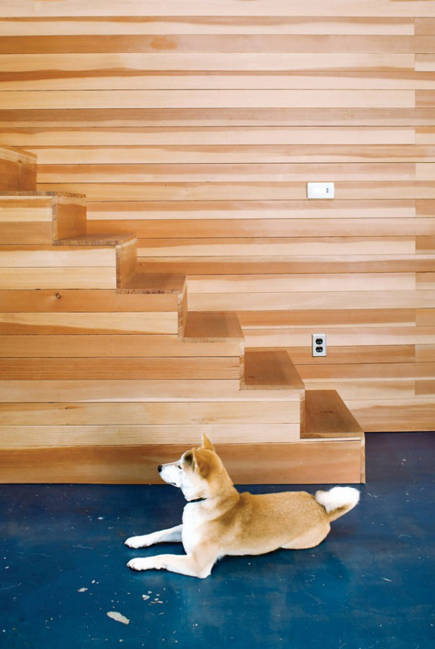 minimalist home wood stairs
