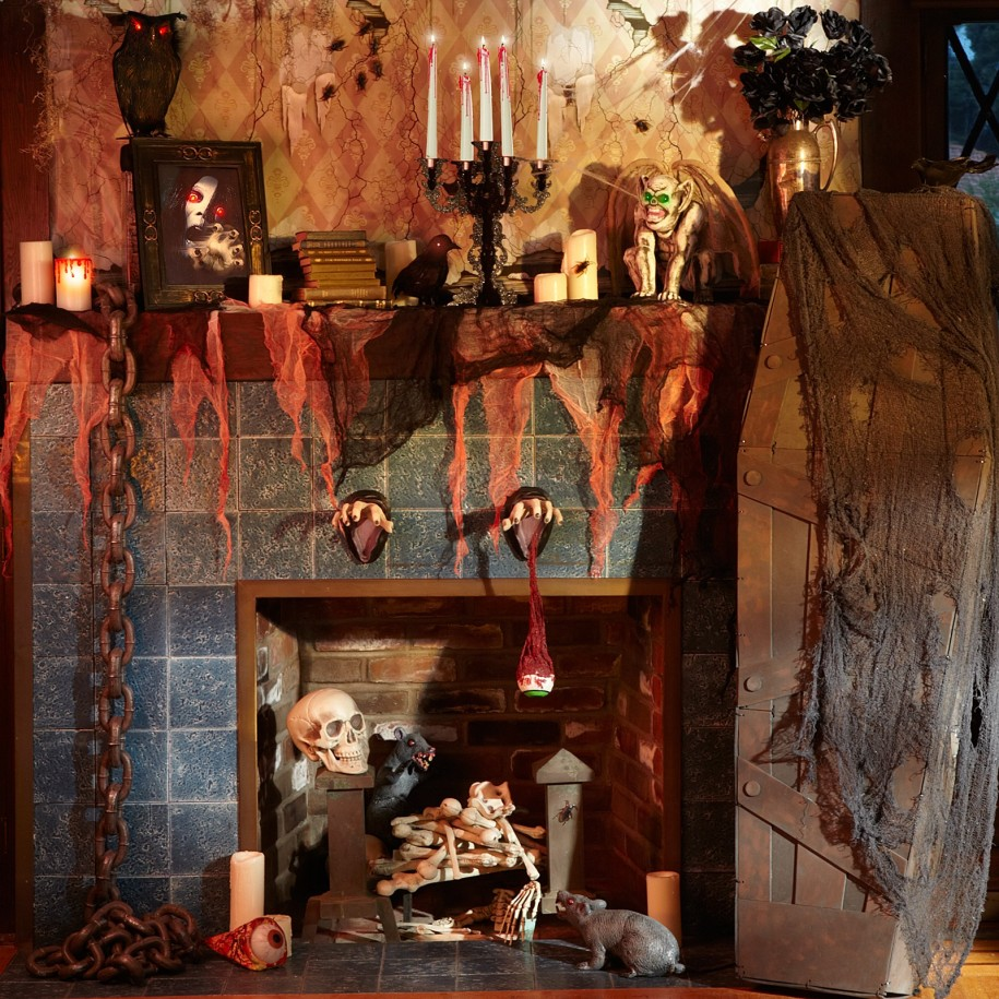 rustic Halloween mantle decoration